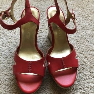 Ivanka Trump wedge. Coral color